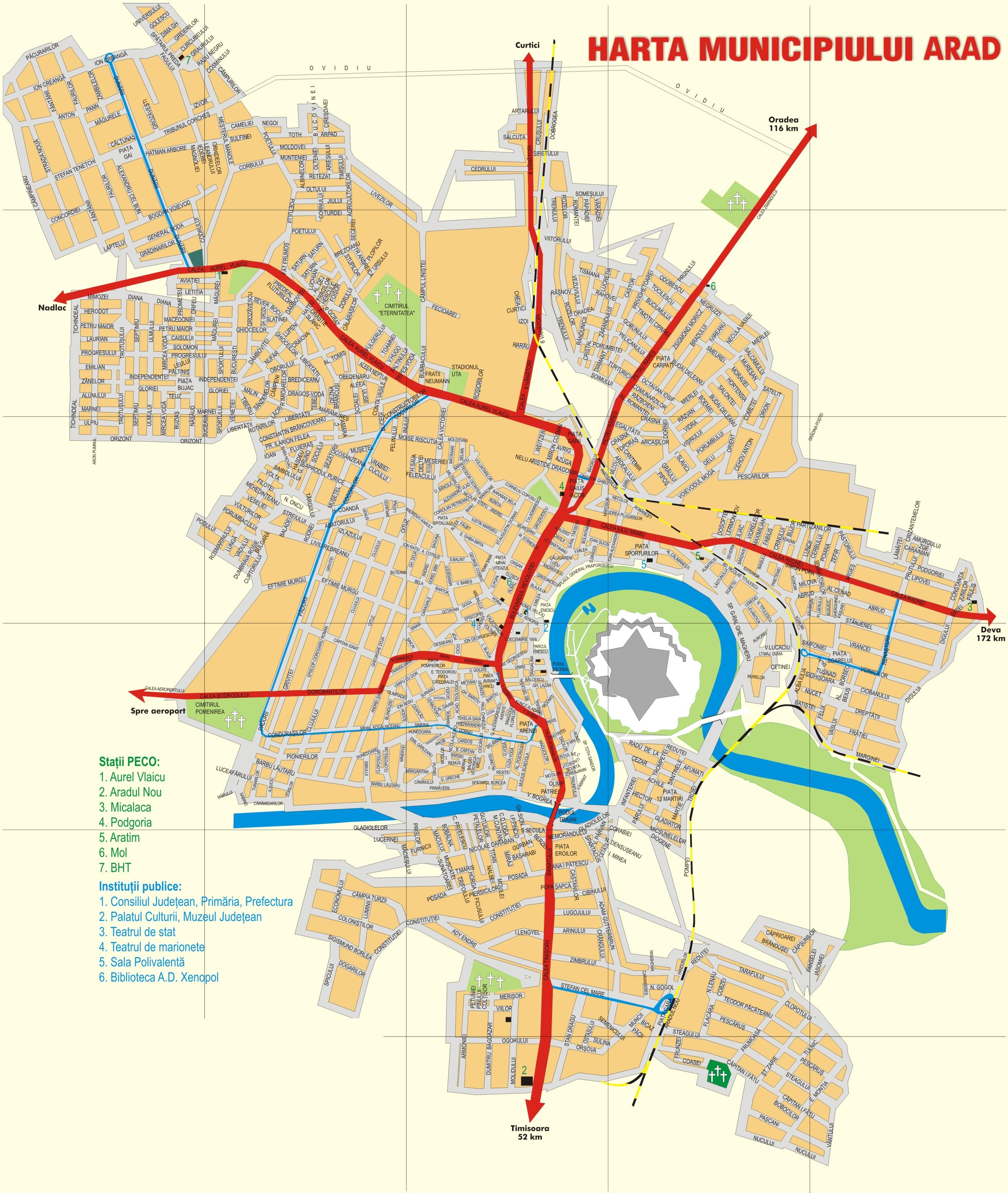 Arad turisztikai térképe - szállás