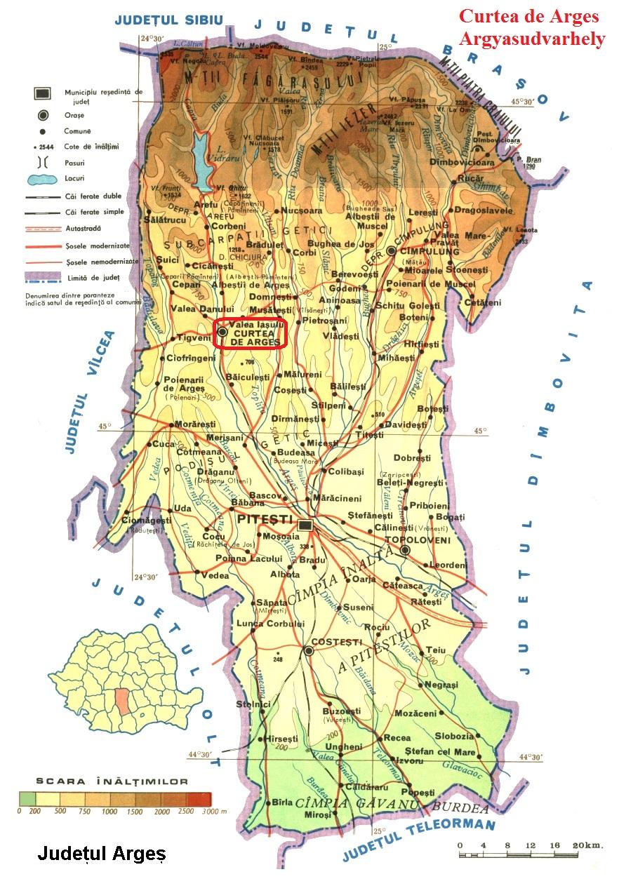 Argyasudvarhely (Curtea de Arges) turisztikai térképe - szállás