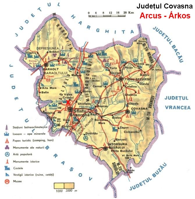 Árkos turisztikai térképe - szállás