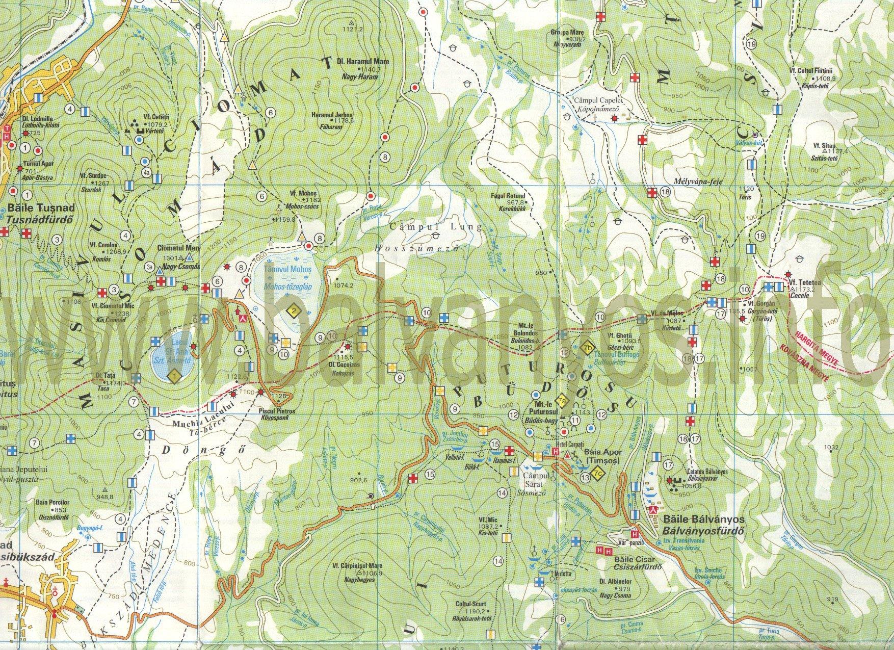 Bálványosfürdőturisztikai térképe - szállás