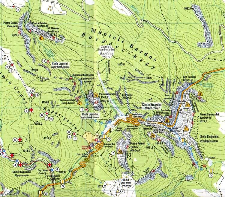 Békási Szoros turisztikai térképe - szállás