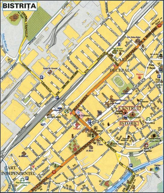 Beszterce turisztikai térképe - szállás