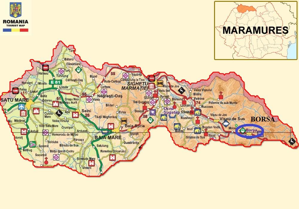 Borsa turisztikai térképe - szállás