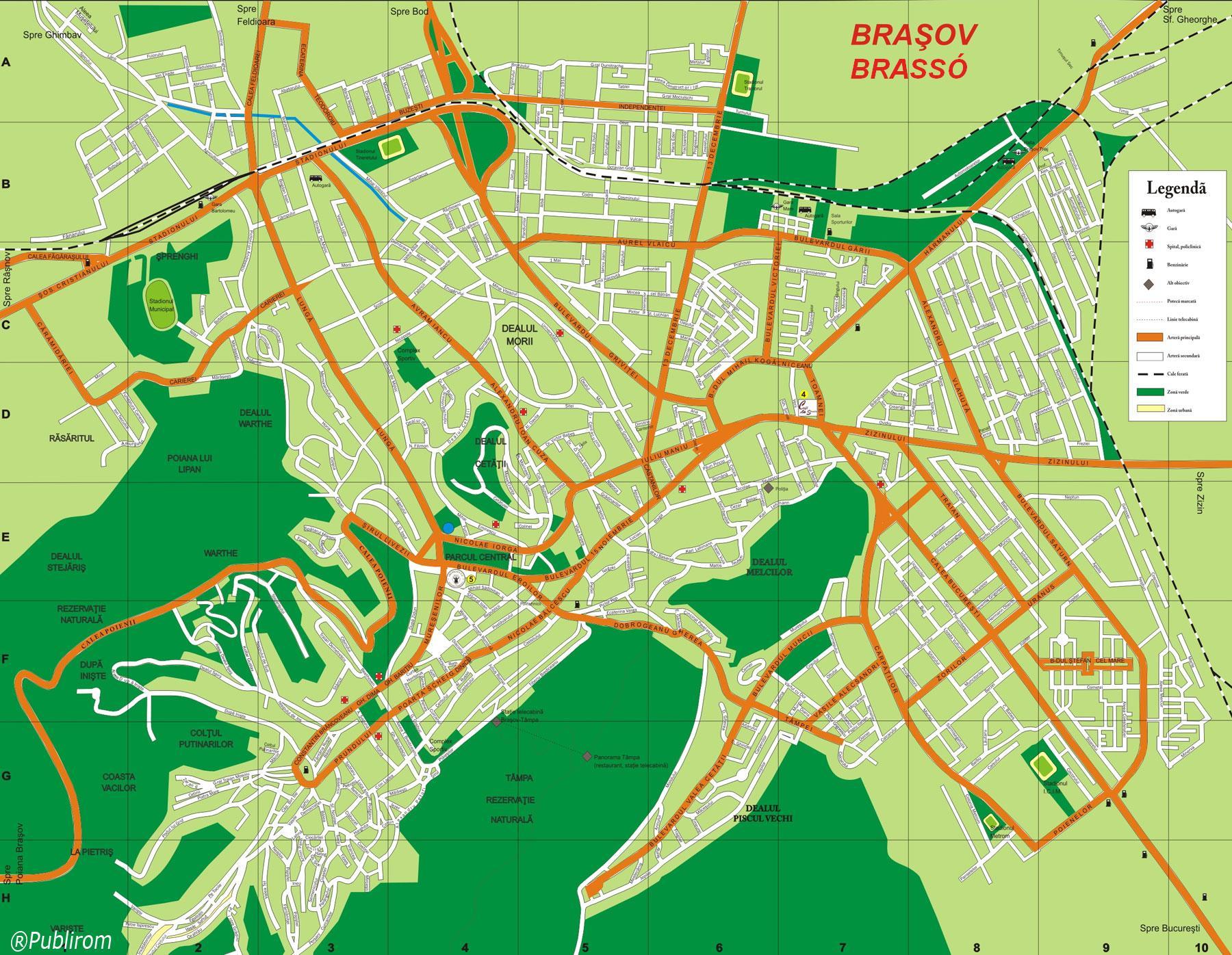 Brassó turisztikai térképe - szállás