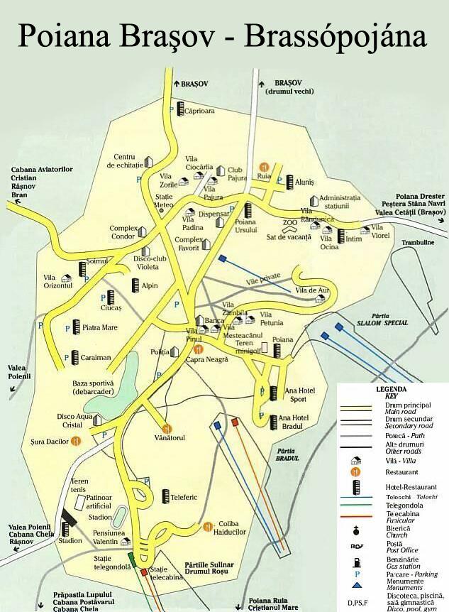 Brassópojána turisztikai térképe - szállás