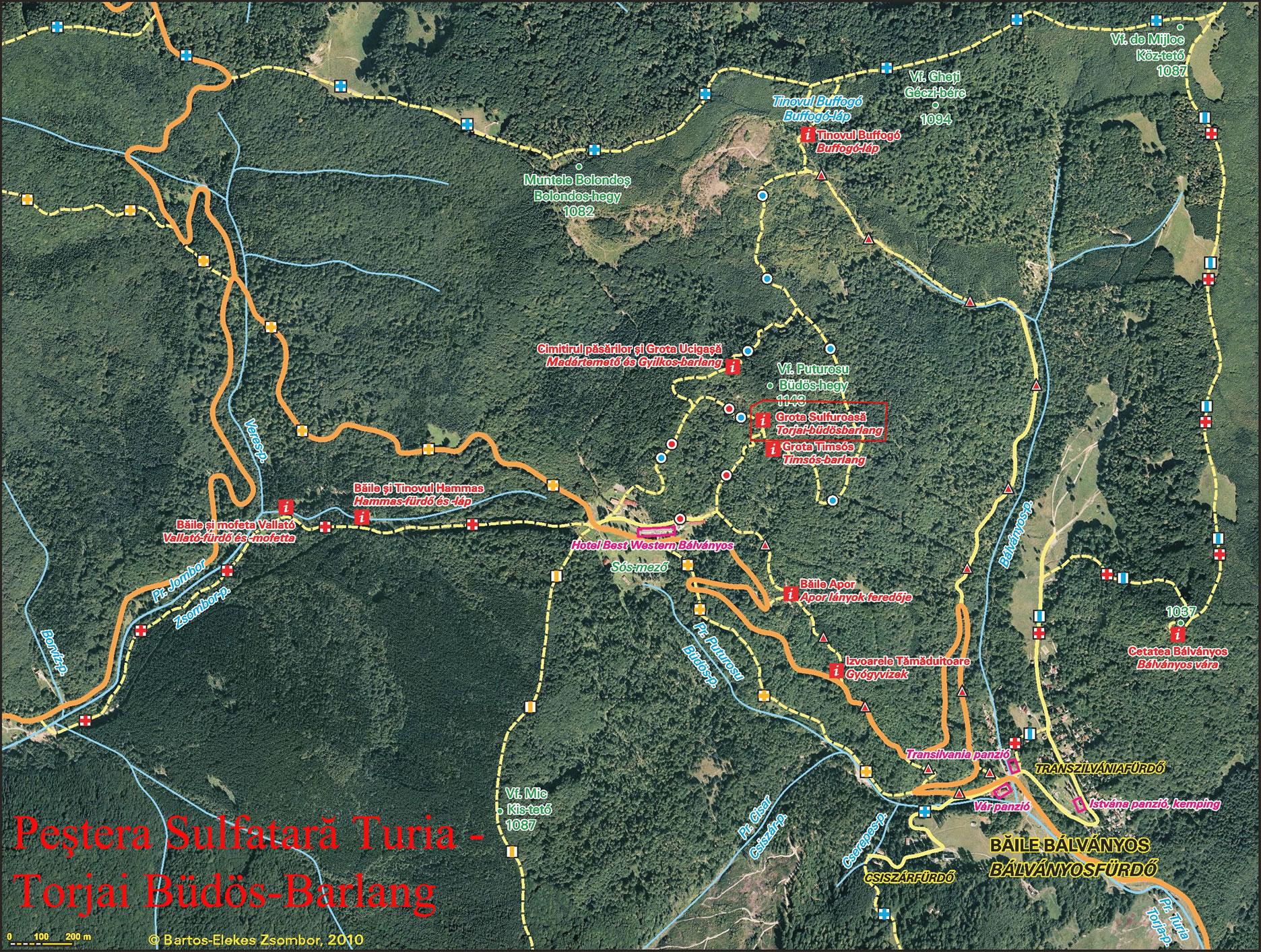 Torjai büdös barlangturisztikai térképe - szállás