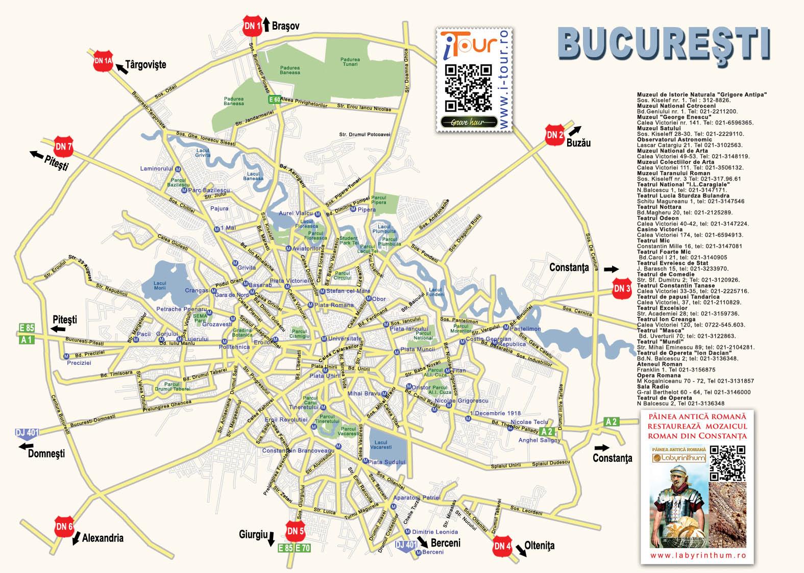 Bukarest turisztikai térképe - szállás