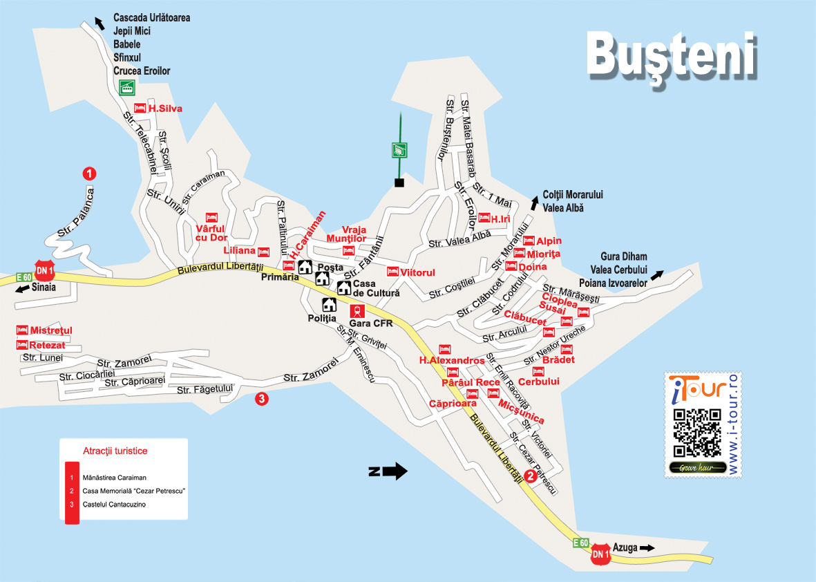Busteni Sinaia  turisztikai térképe - szállás