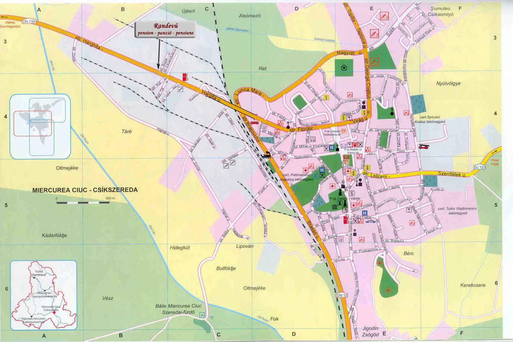 Csíkszeredaturisztikai térképe - szállás