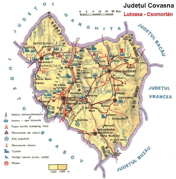 Csomortánturisztikai térképe - szállás