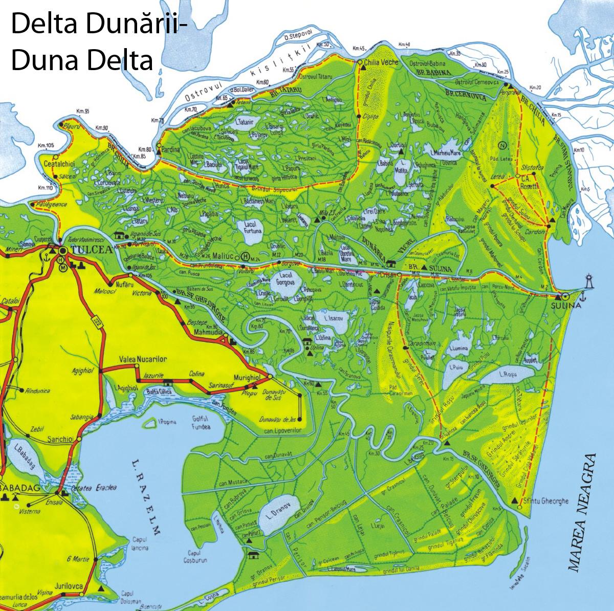 Duna Delta turisztikai térképe - szállás
