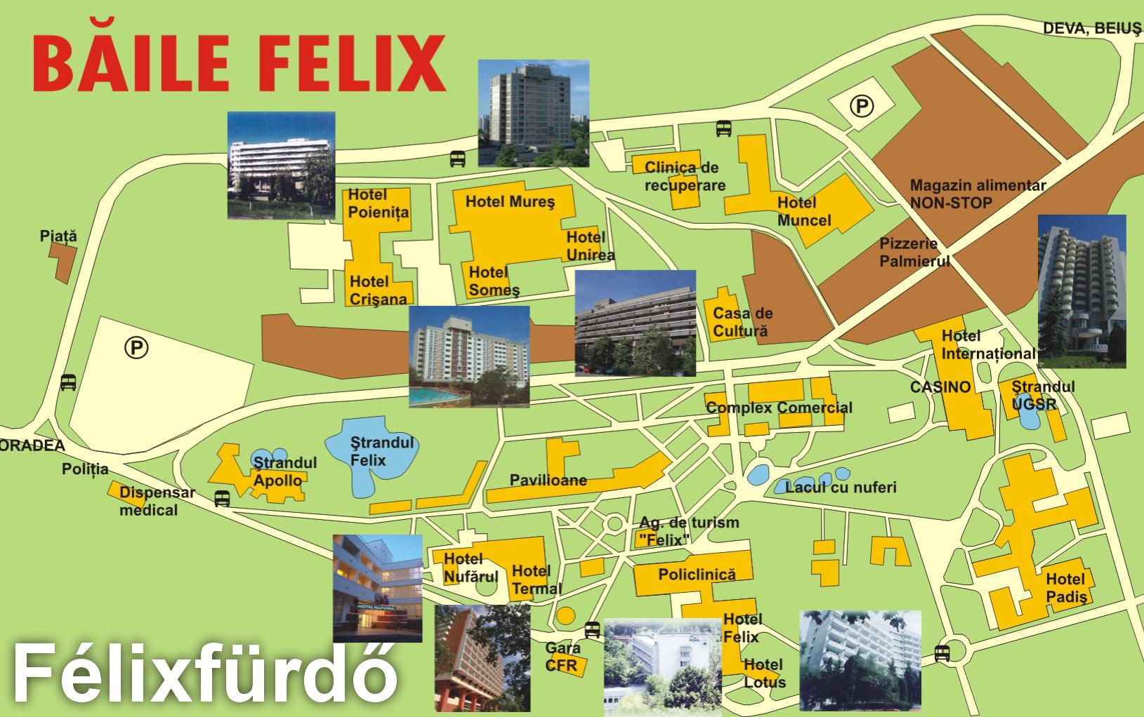 Félixfürdő turisztikai térképe - szállás