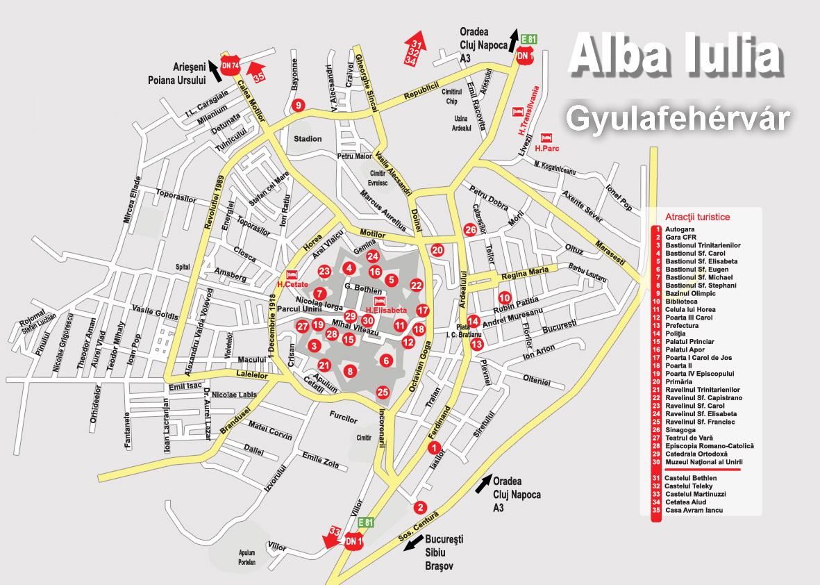 Gyulafehérvár turisztikai térképe - szállás