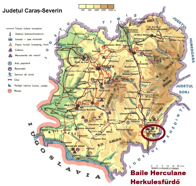 Herkulesfürdő turisztikai térképe - szállás