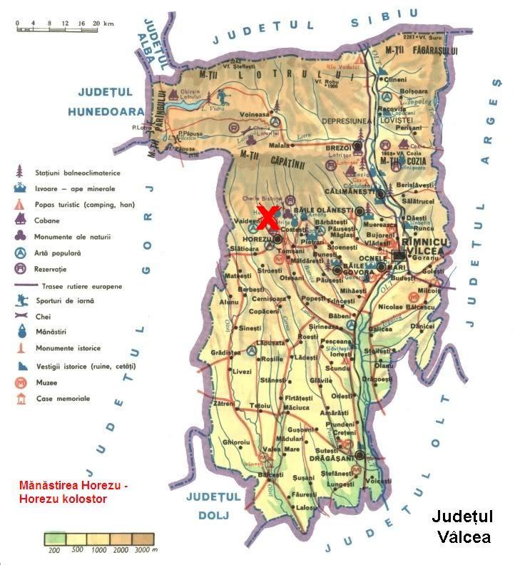 Horezu kolostor  turisztikai térképe - szállás