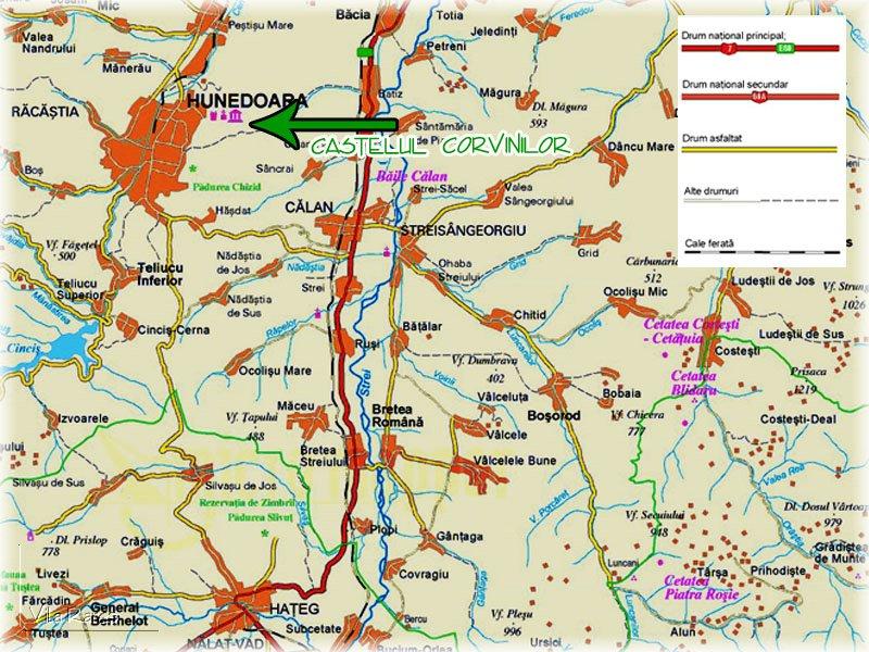 Hunyadi várkastély  turisztikai térképe - szállás