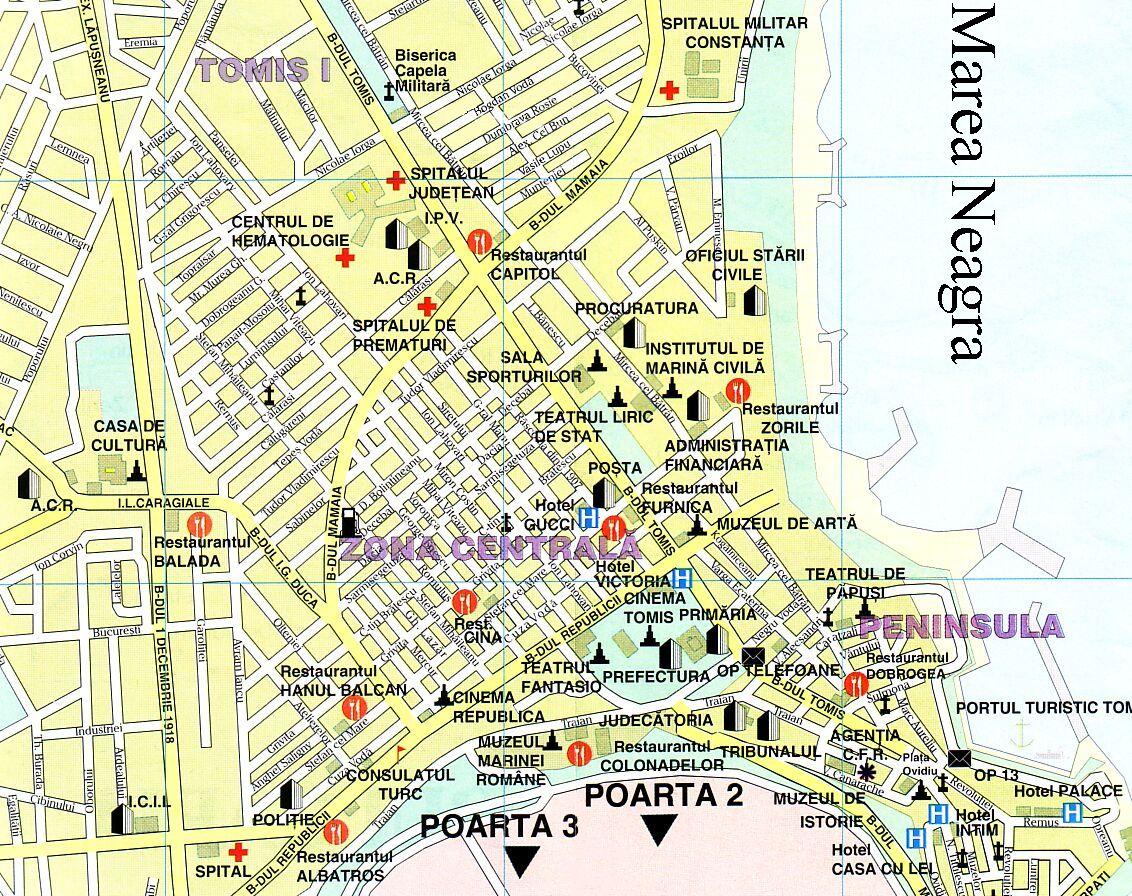 Konstancaturisztikai térképe - szállás