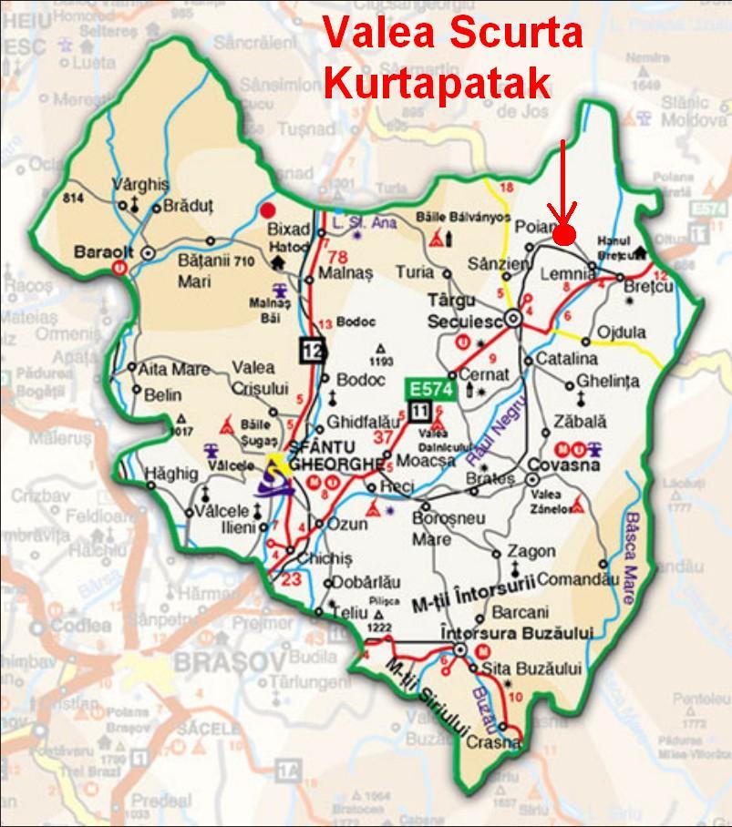Kurtapatakturisztikai térképe - szállás