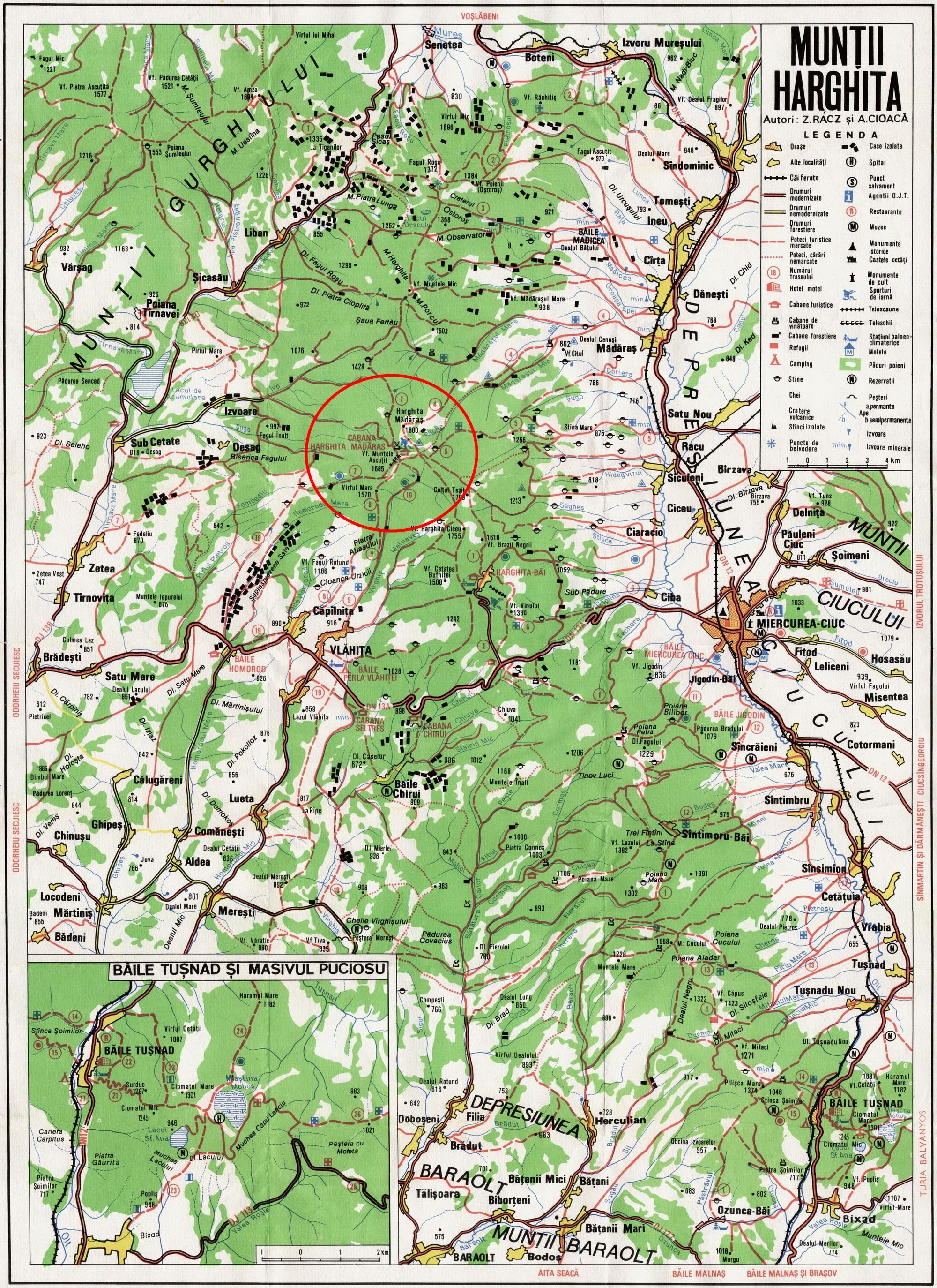 Madarasi Hargita turisztikai térképe - szállás