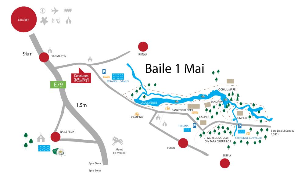 Püspökfürdő turisztikai térképe - szállás