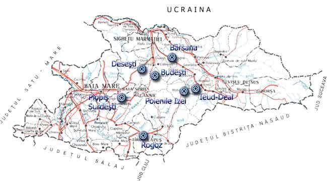 Máramarosi Fatemplomok turisztikai térképe - szállás