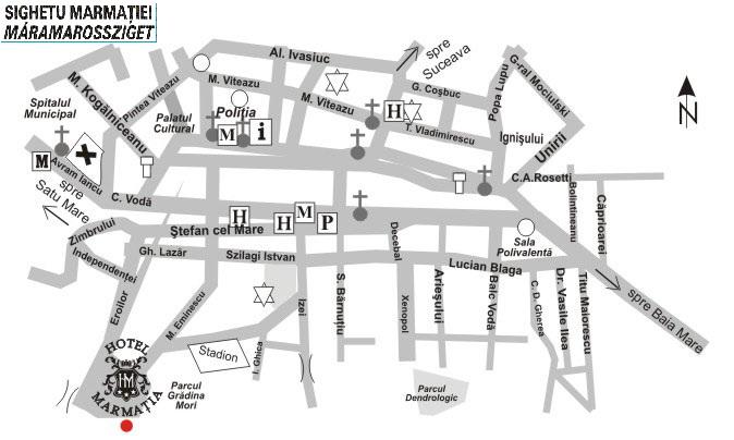 Máramarossziget turisztikai térképe - szállás