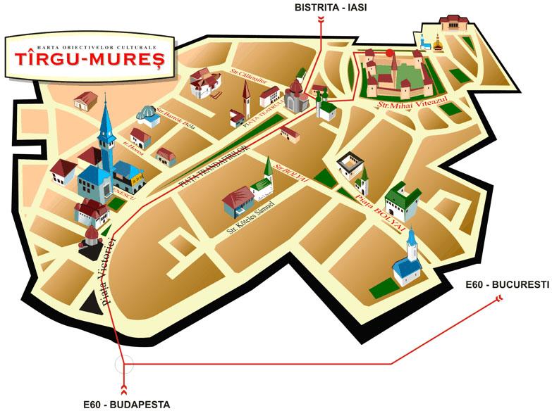 Marosvásárhely turisztikai térképe - szállás