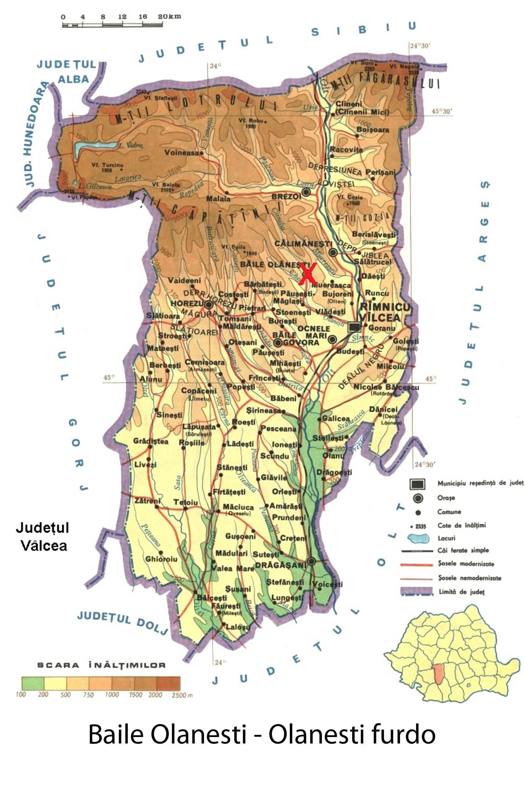 Olanesti fürdő  turisztikai térképe - szállás