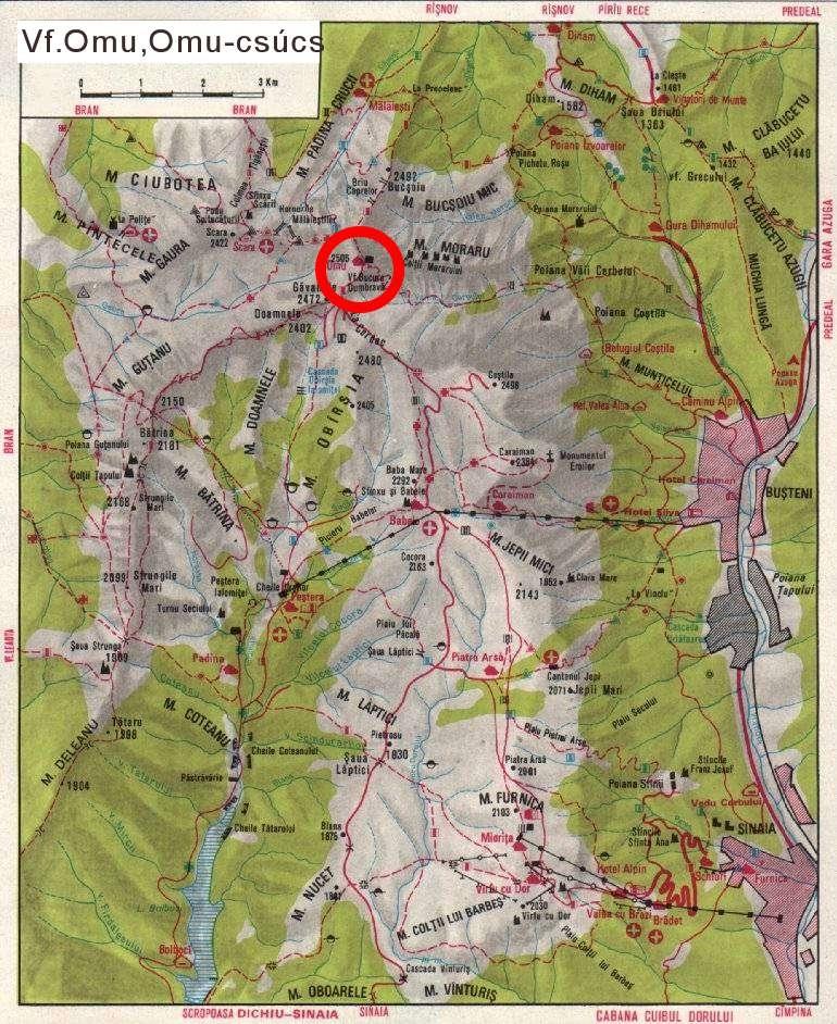 Omu Csúcs turisztikai térképe - szállás