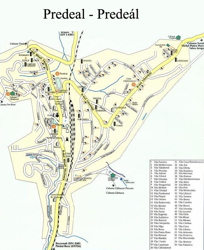 Predeál turisztikai térképe - szállás