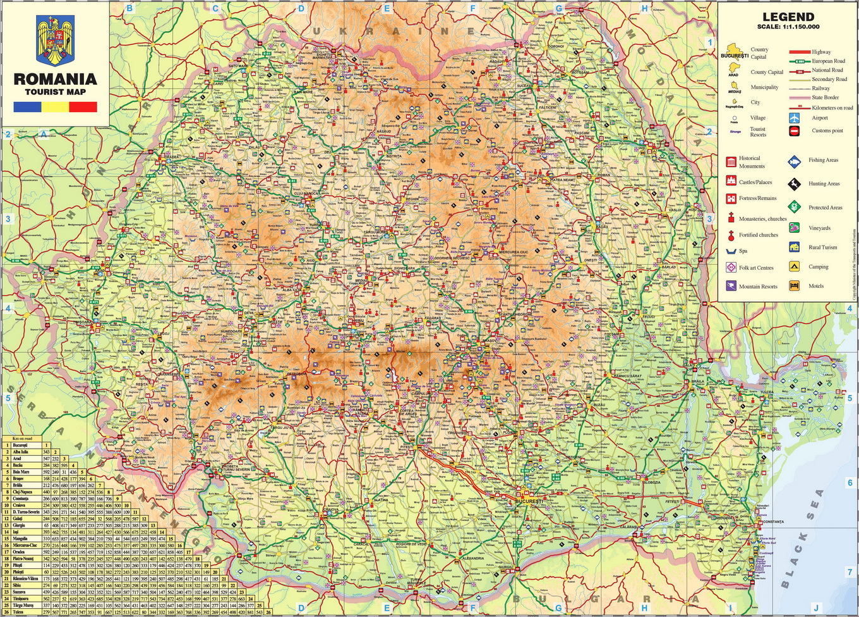 Harta Turistica Romania - Romania Tourist Map