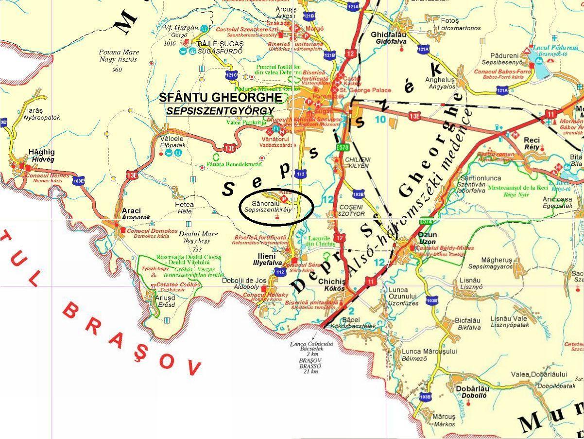 Sepsiszentkirályturisztikai térképe - szállás