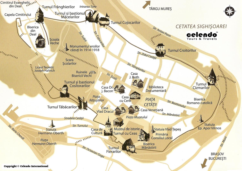 Segesvár turisztikai térképe - szállás