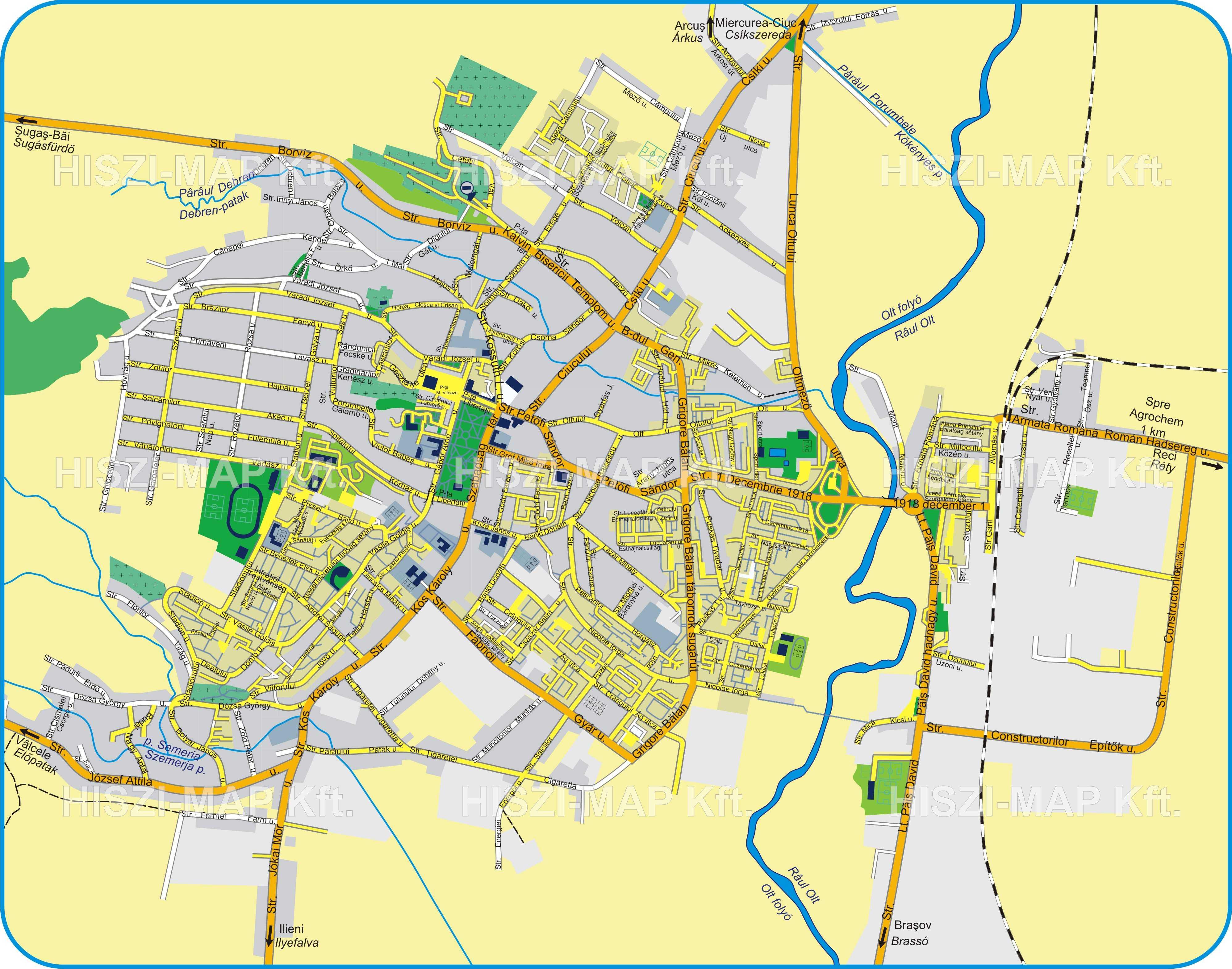 Sepsiszentgyörgyturisztikai térképe - szállás