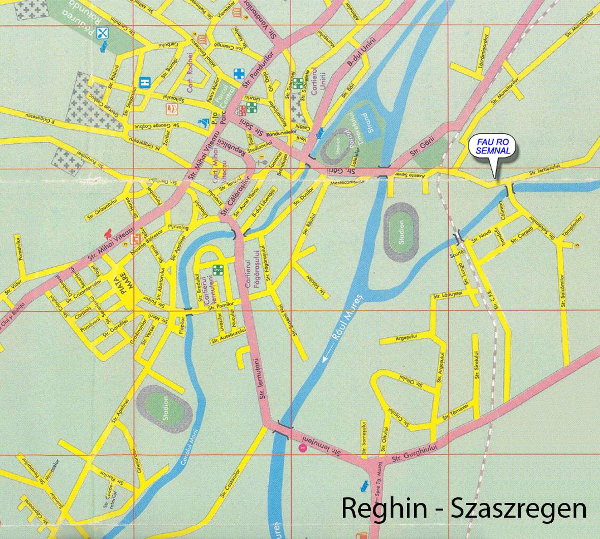 Szászrégen turisztikai térképe - szállás