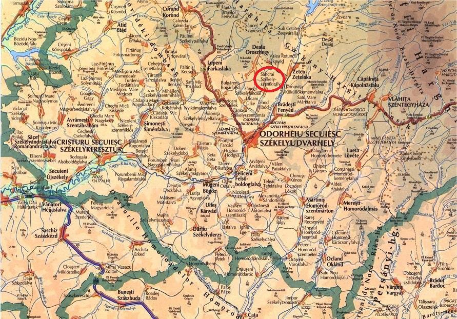 Csíkmenaság turisztikai térképe - szállás