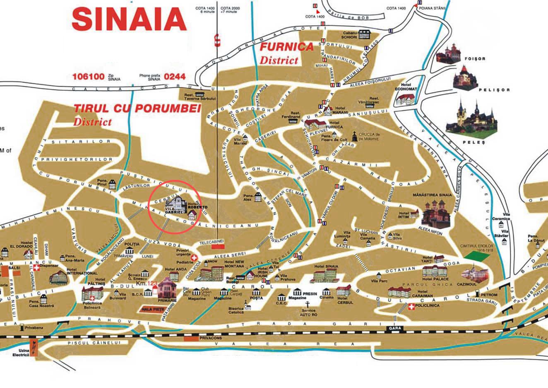 Szinája  turisztikai térképe - szállás
