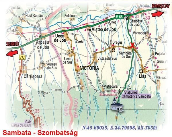 Szombatság turisztikai térképe - szállás