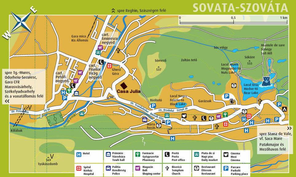 Szováta turisztikai térképe - szállás