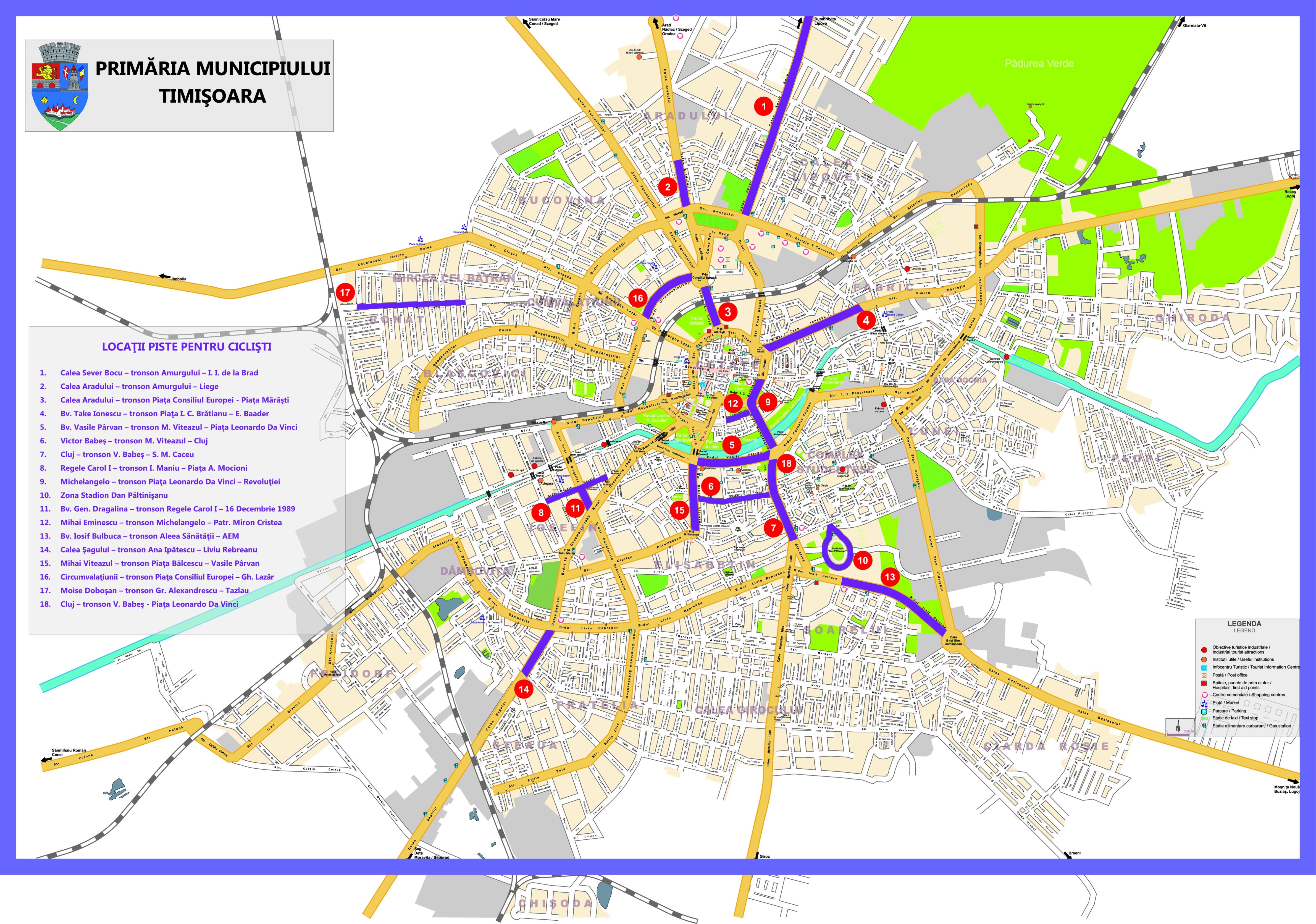 Temesvár turisztikai térképe - szállás