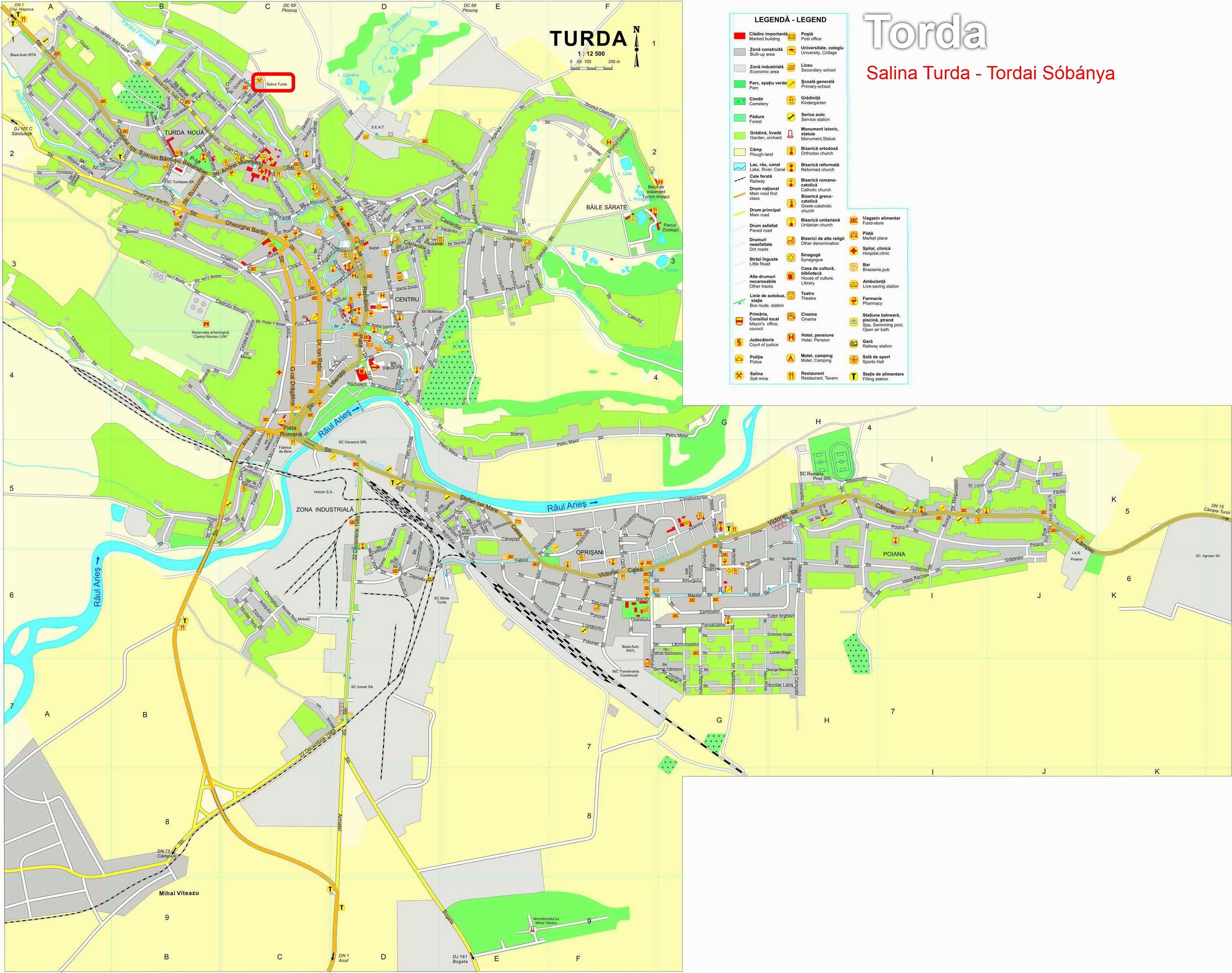 Tordai sobánya turisztikai térképe - szállás