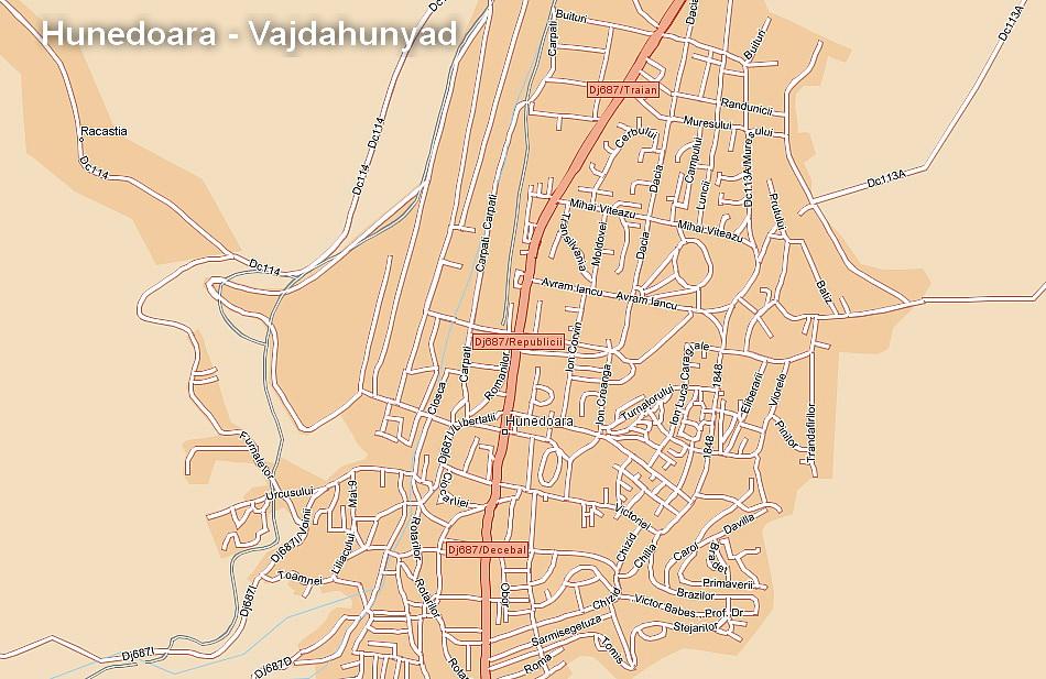 Vajdahunyad  turisztikai térképe - szállás