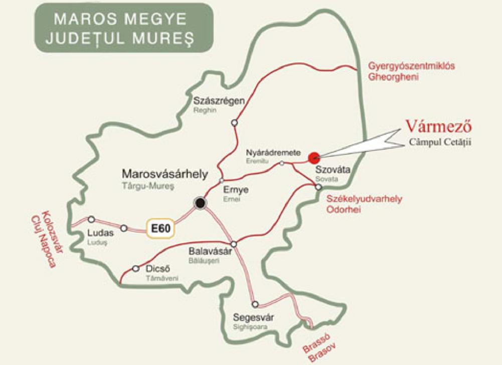 Vármező turisztikai térképe - szállás