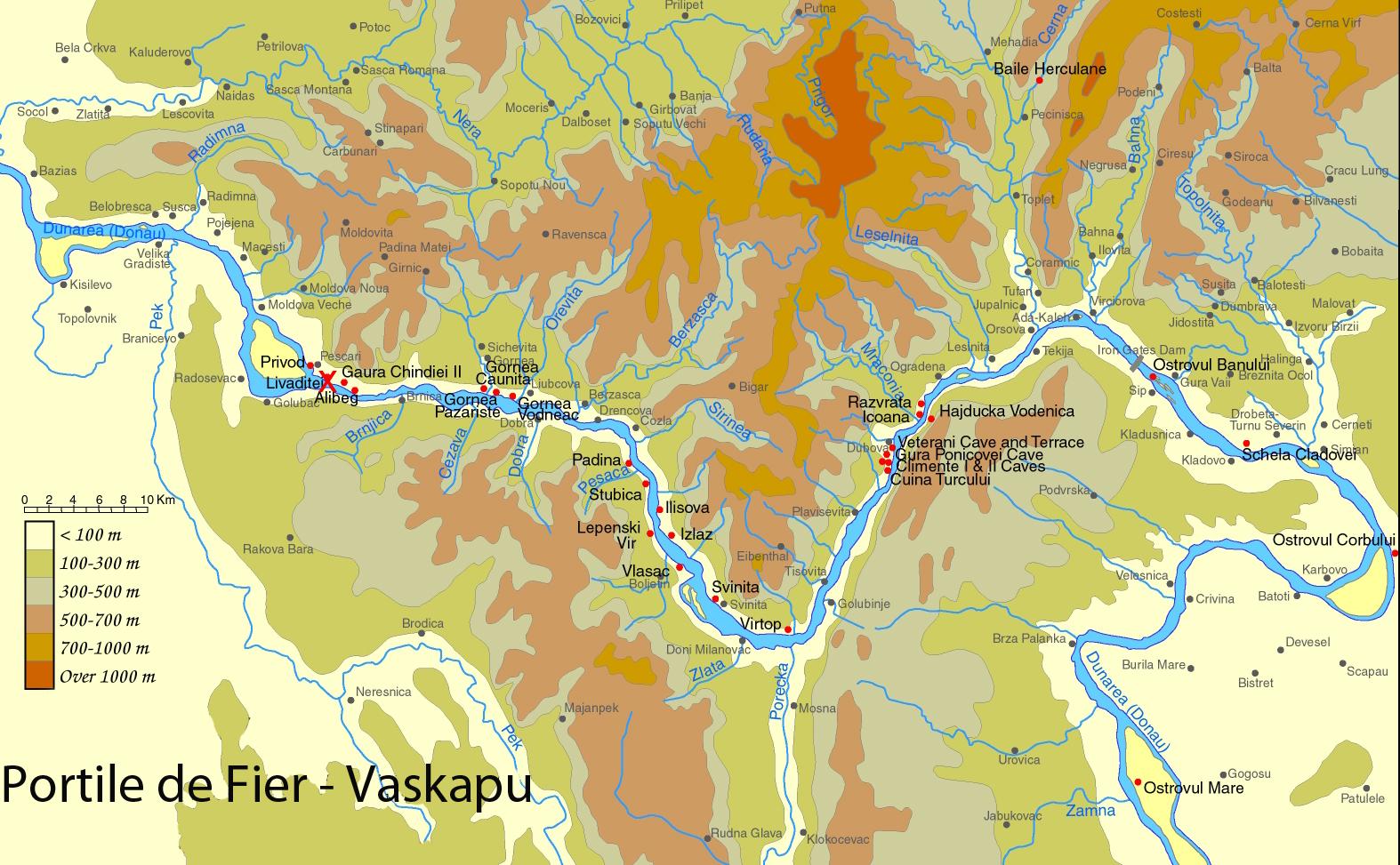 Vaskapu  turisztikai térképe - szállás