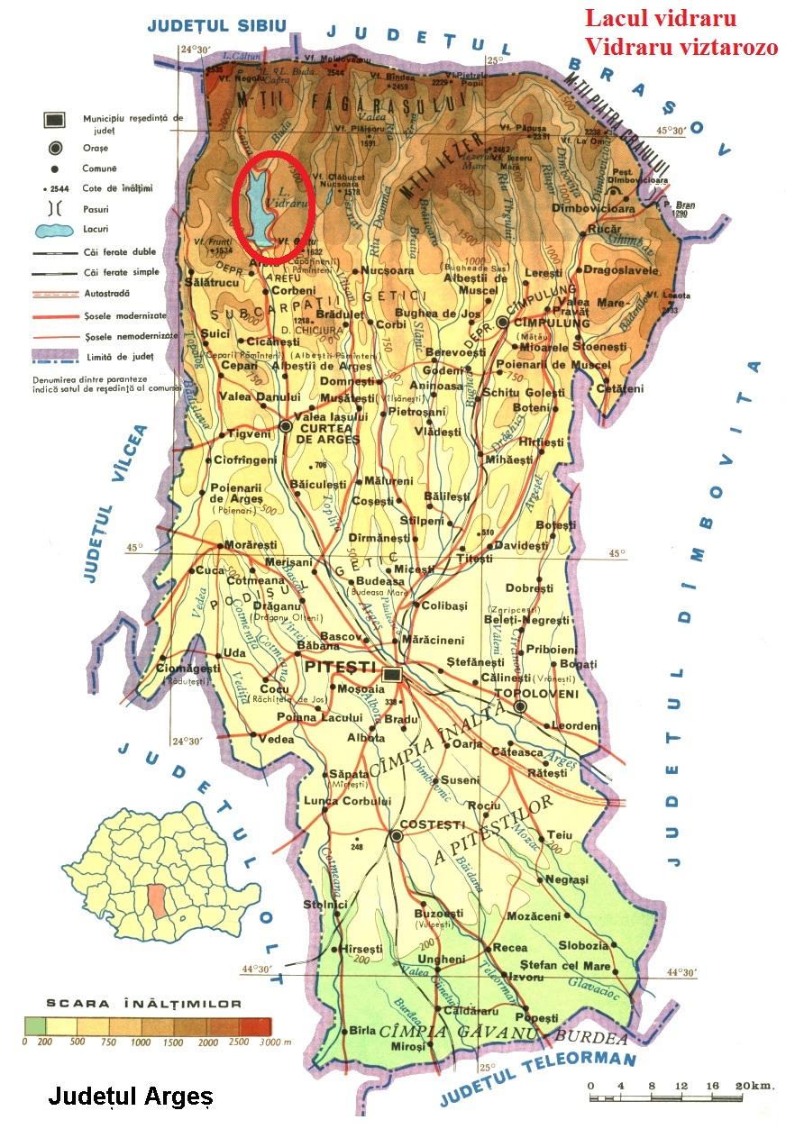 Vidraru tó turisztikai térképe - szállás