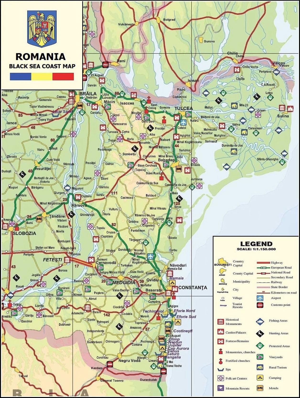 Térkép Román Tengerpart - Fekete-tenger romániai partszakasza
